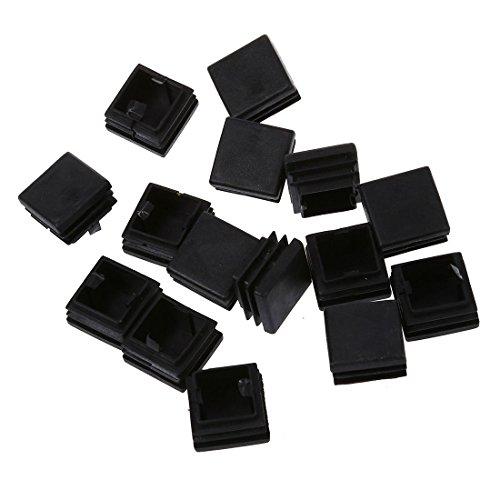 TOOGOO (R) 15 Stueck Plastik Quadrat Blanking Endkappe Tubing Rohr Einsaetze 25 x 25 mm Rohr-tischbeine