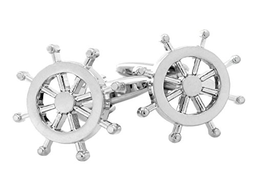 Sorella'z Mens Silver Tone Sailor Wheel Enamel Cufflinks