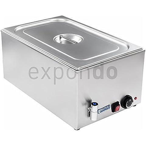 Royal Catering - RCBM-1/1-150A-GN - Baño María 1/1 - max 95°C - 230 Volt - 1200 Watt - Profundidad 150mm - grifo de vaciado - Envío