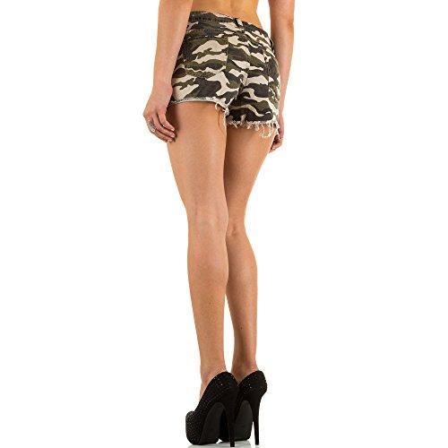 Damen Shorts, CAMOUFLAGE USED LOOK HOT PANTS SHORTS, KL-J-1D22 Grün