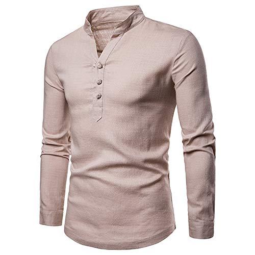 f404af94ad Men Long Sleeve Tops HEHEM Men's Long Sleeve Autumn Winter Linen Henry  Large Size Casual Top Blouse Shirts Long Sleeve Shirts T-Shirt Polo Shirts  ...
