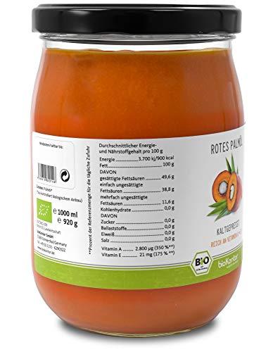 Rotes Bio Palmöl - nativ, kaltgepresst, 100% rein von bioKontor - 1000 ml/ 1 L