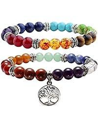 Jovivi Lot de 2PCS 7 Chakra Pierres Naturelles Perles d'Energie Bracelet Extensible Elastique Tibetain Bouddhiste avec Pendentif Arbre de la Vie