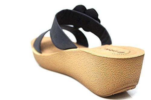 INBLU pour femme MID Wedge bout ouvert Sandales d'été à Bretelles Taille 2–8 Bleu Marine