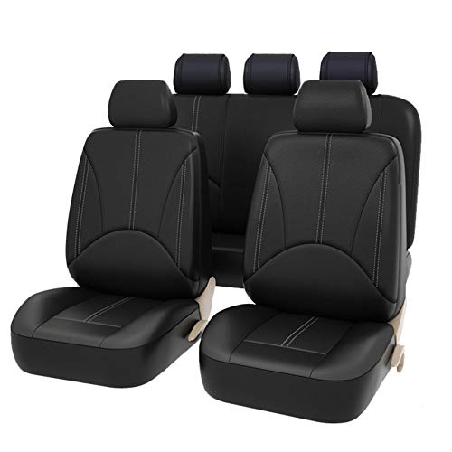 Coprisedili per auto universale in pelle PU per auto regalo Anteriore e posteriore protezioni per sedili adatta alla maggior parte dei camion per auto SUV, nero