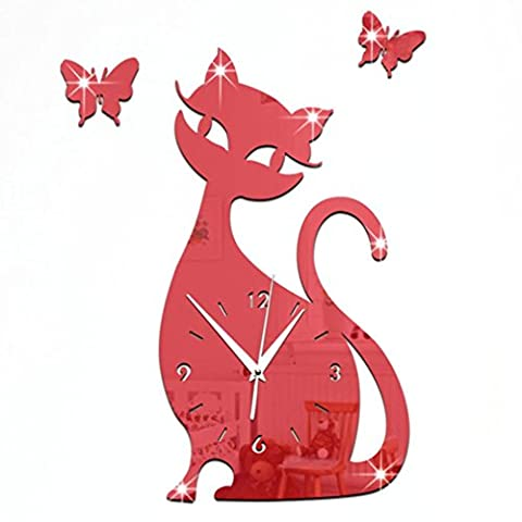 Wall Clocks,Clode® 35x32cm Large Mute 3D DIY Cat Butterfly Acrylic Clock Arabic Numbers Wall Clock Stickers, Mirror Surface Effect Wall Clock Decals, Frameless Removable Acrylic Art Wall Sticker for Home Living Recoration (Red)