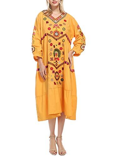 Doballa Damen böhmischen bestickten Blumen gekräuselten mexikanischen Bauern Tunika Flowy Shift Midi-Kleid (Verkauf Auf Blumen-mädchen-kleid)