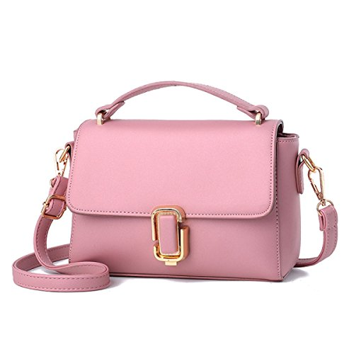 FZHLY 2017 In Pelle New Spring Piccola Piazza Del Signore PU Buckle Messenger Bag,LakeBlue Pink