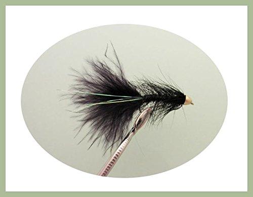 12Stück schwarz Lightening Flash Köder Angeln Fliegen. Größe 10