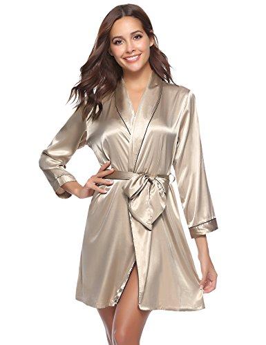 Aibrou Damen Morgenmantel Kimono Satin Kurz Robe Bademantel Nachtwäsche Sleepwear V Ausschnitt mit Gürtel Champagner XL