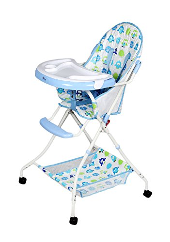 GTC Foldable High Chair, Baby Dining Chair ITN-8013 with Wheel (Blue)