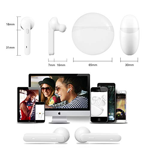 Bluetooth Kopfhörer Sport Earphones Stereo Bluetooth V5.0 In Ear True Wireless Earbuds Over Ear kabellose kopfhörer Ohrhörer HD Sound CVC 6.0 Noise Cancelling Headset mit Mikrofon für iPhone Samsung - 4