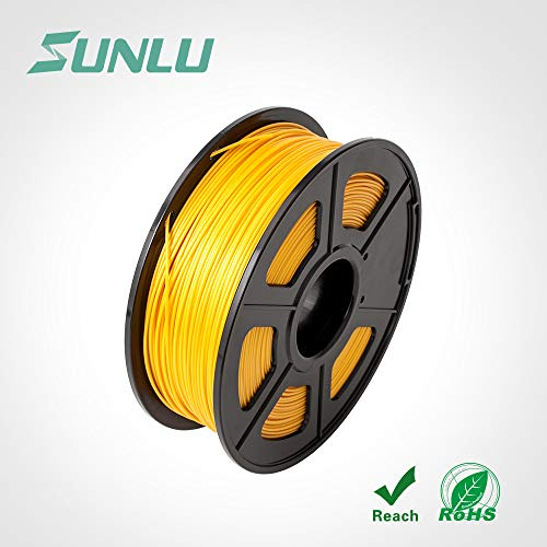 SUNLU Filamento PLA, 1,75 mm, bobina da 1 kg, precisione dimensionale +/-0,02 mm, made in USA con materiali di alta qualità, oro, 1