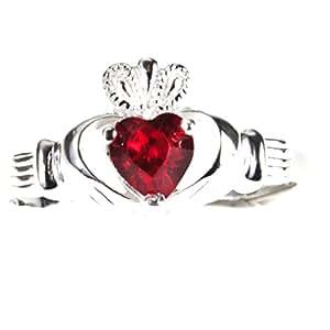 Irish Claddagh Birthstone Ring January Size 8 -