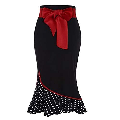 QinMMROPA Falda de Lunares con cinturón de Lazo para Mujer Falda Formal con Cola de pez con Volantes Falda Elegante Vintage Negro XL(Cintura:80cm/31.50'')