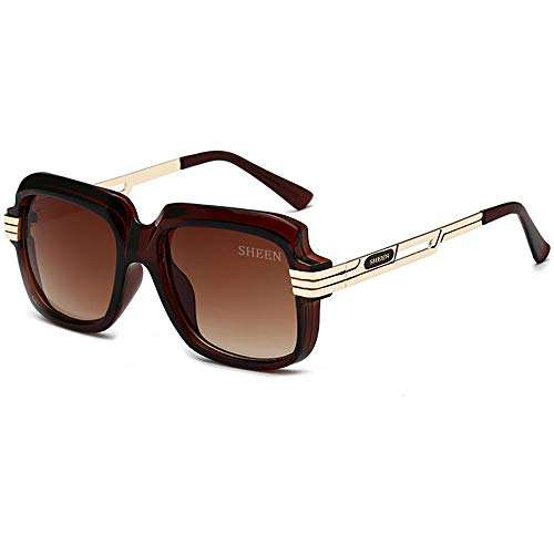 SHEEN KELLY Oversized Retro Sonnenbrille Frauen Designer Vintage Sonnenbrille Pilot Fahren 100% UV400 Braun