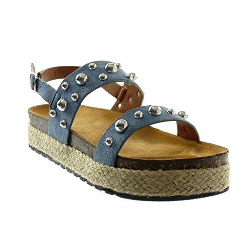 Angkorly Chaussure Mode Sandale Mule Lanière Cheville Plateforme Femme Clouté Perle Corde Talon Compensé Plateforme 4 cm Bleu