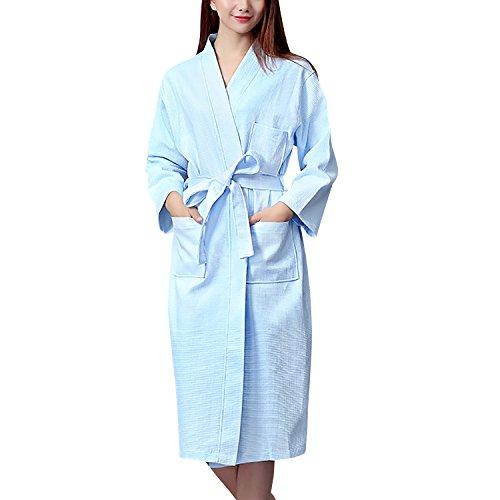 Dolamen Unisex Damen Herren Morgenmantel Bademäntel, Weich u. Leicht Baumwolle Waffelpique Nachtwäsche Nachthemd Robe Negligee locker Schlafanzug, für Spa Hotel Sauna (Medium, Blau) (Damen-lang-spa-robe)