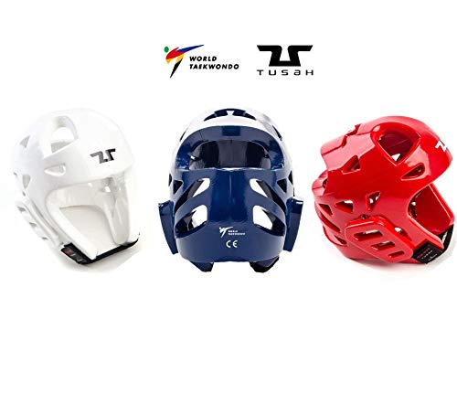 Tusah - Casco Oficial Reconocido para Taekwondo WT Aprobado para competiciones y Entrenamiento Rojo Azul (M)