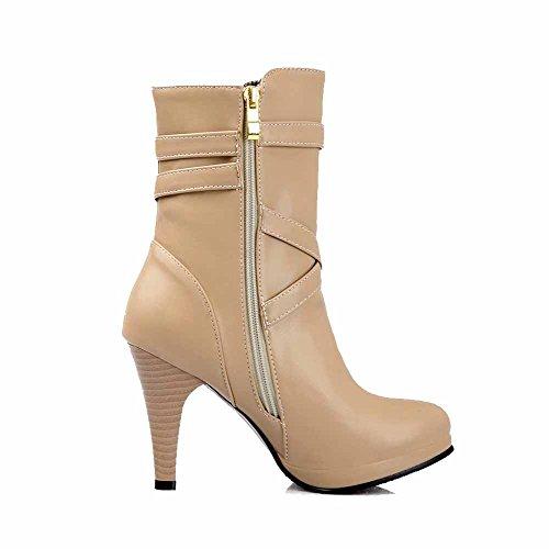 AllhqFashion Damen Rein Rund Zehe Weiches Material Reißverschluss Stiefel, Weiß, 37