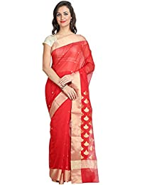 Tanya Sparking Red With Zari Work Chanderi Silk By Cotton Saree