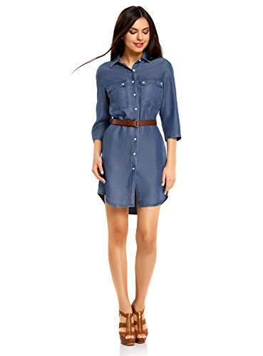 Oodji ultra donna abito camicia in jeans con taschini, blu, it 42 / eu 38 / s