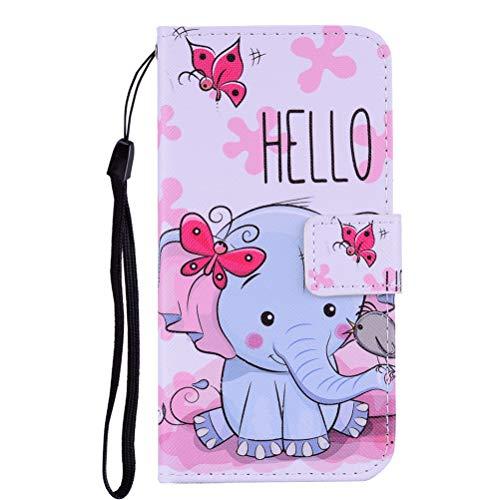 Edaroo Handytasche für iPhone 5/5S, PU Leder Flip Tasche Handy Schutzhülle Handyhülle mit Magnetverschluss Ständer Funktion Brieftasche Karikatur Blaue Rosa Elefant Klapphülle für iPhone 5/5S & SE (Iphone 5s Purple Rose Case)