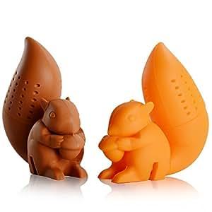 iNeibo infusore per tè /filtro per tè, Infusore per te e tisane a forma di scoiattolo, design intelligente si adatta a tutte le tazze, silicone 100% alimentare privo di Bpa, Set da 2 infusori (Arancione, Marrone)