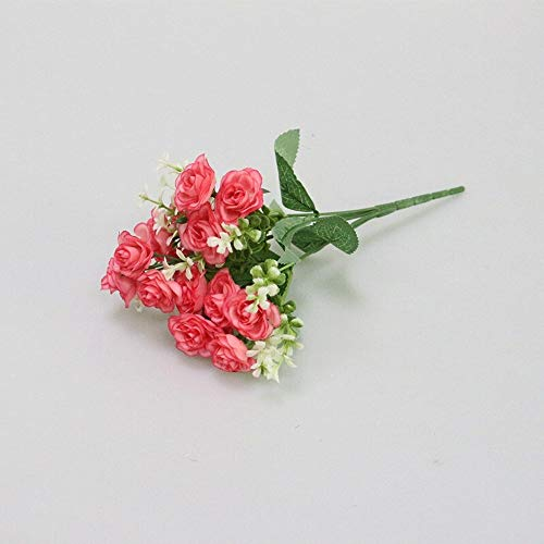 Künstliche Blume 15 Kopf Mini Künstliche Rose Blume Seidenblumen Simulation Blumen Bouquet for Hochzeit Home Party Geschenk Raumdekoration (Color : Rose red) (Bareback Mini)