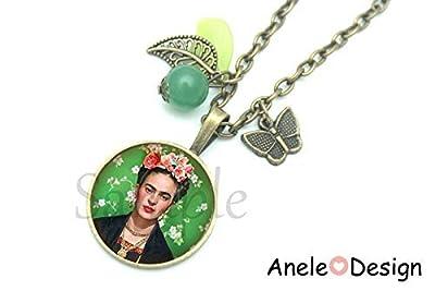 Collier Frida Kahlo et les fleurs artiste peintre cadeau