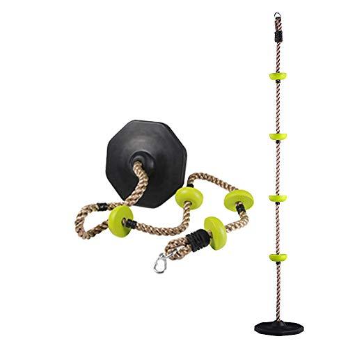 HAPPYPIE Draußen hängender Baum Scheibe Schaukel Kletterseil mit Plattform Schaukel Set Schnell-Installation Zubehör enthalten (Schwarz)