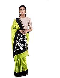 Unnati Silks Women Green-Black Pochampally Ikat Printed Cotton Silk Saree
