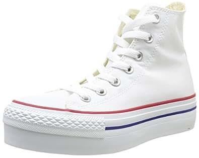Converse, A/S Hi Platform Canvas, Sneaker, Donna, Bianco (White), 36