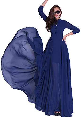 BININBOX Damen Chiffon Kleid lang Maxikleid Strandkleid Cocktail Boho Langarm Blau