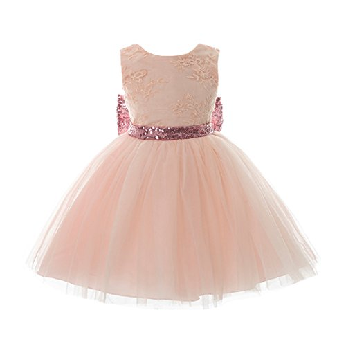 Inlefen Girls Bowknot Lace Princess Gonna Paillettes Estate Abiti per Bambini Piccoli Bambini 0-5 Anni Rosa 90/1-2 Anni