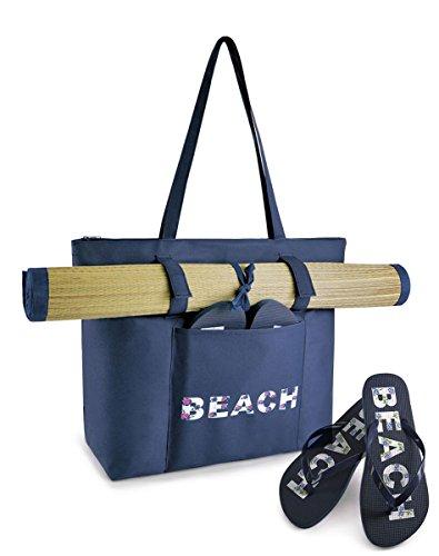 Damen Sommer Strand Motiv swim-tote Tasche & passendem Flip Flops & Strand Matte Dunkelblau