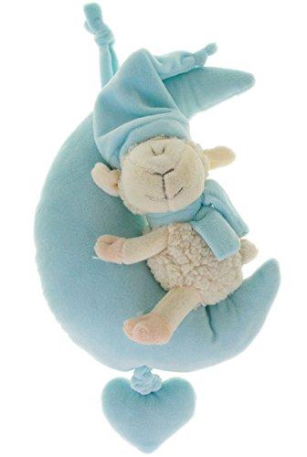 (Spieluhr Schäfchen im Mond 28 cm Baby Spieluhr mit Bändchen blau)