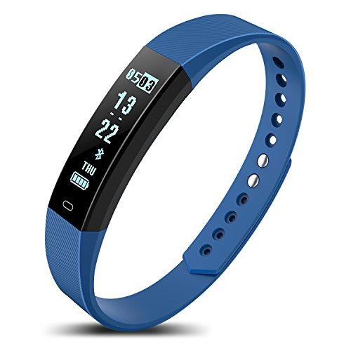 Niocase Smart Armband Sport Fitness Tracker, Touch Smart Armband mit Herzfrequenz Schritt Schlaf Bluetooth Sport Armband für Kinder Frauen Männer Dunkelblau