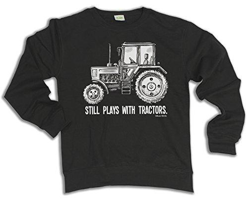 Still Plays With TRACTORS Tractor Scelta di con cappuccio o un maglione Uomo Donna Unisex (Sweater) Black