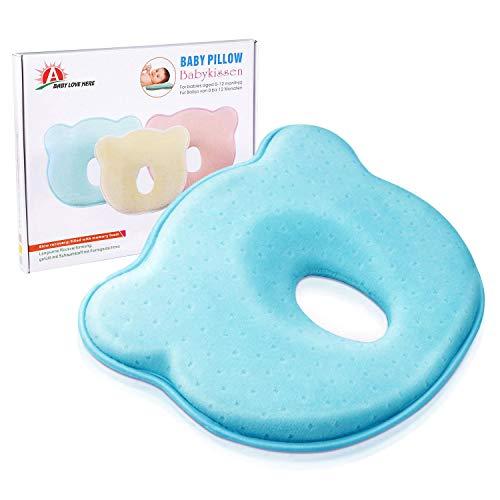 BabyKissen für Memory Foam Baby-Kopfkissen - und Kopfform Positioner Hals-Unterstützung zur Vorbeugung eines Plattkopf , Verformung des Hinterkopfes (0-12 Monate) (blau)