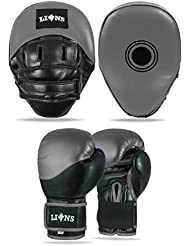 Lions Pro Boxing Set Punch Focus Pads + Sparring Gloves Bag MMA Muay Thai Kickboxing Training Mitts