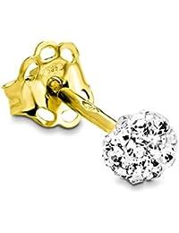 amor Damen-Ohrstecker Einzelohrschmuck 585 Gelbgold Swarovski Elements weiß - 342551