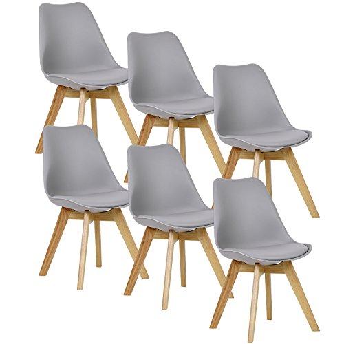 WOLTU® 6er Set Esszimmerstühle Küchenstuhl Design Stuhl Esszimmerstuhl Kunstleder Holz Grau BH29gr-6