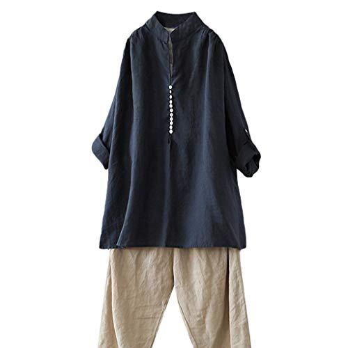 use Tops Stretch Tunika Top Damen beiläufige Plus Größen-Baumwolloberteil-T-Shirt Weinlese-Feste Knopf-lose Bluse ()