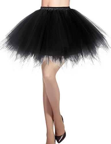 Dresstells Damen Tüllrock 50er Rockabilly Petticoat Tutu Unterrock Kurz Ballett Tanzkleid Ballkleid Abendkleid Gelegenheit Zubehör Black XL