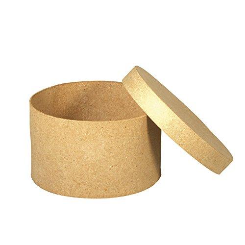Rayher 67034000 Pappmaché Schachtel FSC Recycled 100%, rund, 6cm hoch,