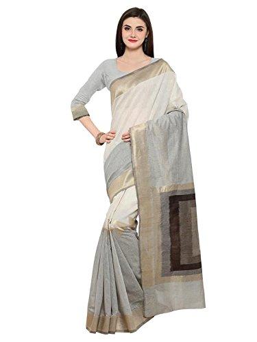 Inddus Off-White Linen Cotton Zari Woven Saree