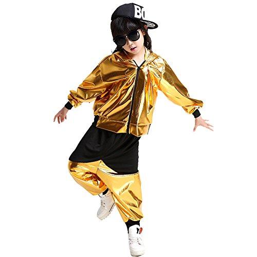 Byjia Kinder Hip-Hop-Jazz Kostüme Leistung Tanzen Halloween Mantelfarbe Kapuzen Langarm-Hosen-Set,Gold,150Cm (Mädchen Halloween-kostüm Irische)