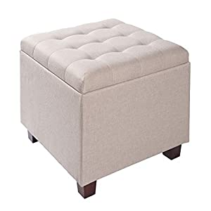 WOLTU Storage Box Ottoman Chair Stool Cream Upholstered Footstool Linen Square Pouffe Chair Multifunction with Removable…