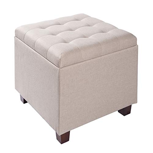 WOLTU Storage Box Ottoman Chair Stool Cream Upholstered Footstool Linen Square Pouffe Chair Multifunction with Removable Cover